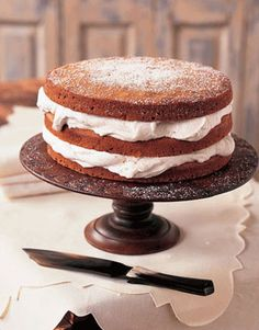 Stacked Applesauce Cake with cinnamon-flavored whipped cream.... Yum!