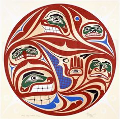 Artist: David Neel Nationality: Canadian, First Nation, Kwakwaka'wakw Artist Dates: born 1960 Gender: male Culture: First Nation; Kwakwaka'wakw Title: Kwagiutl Family Portrait Object Dates: 1991 Media: serigraph on paper Dimensions: 66 x 65.8 cm Credit Line: Gift of the artist to McMichael Collection