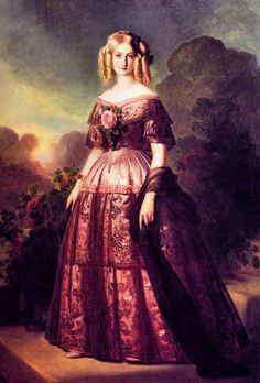 """the-vintage-dress: """"This 1846 portrait of the Duchesse d'Aumale is one of Winterhalter's most well-known portraits and a model of pre-crinoline evening dress and glamour. """""""