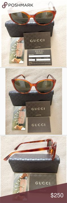 💯GUCCI GG Logo Cat Eye Brown Havana Sunglasses 💯Authentic Gucci Sunglasses or your money back Guaranteed . Lens Width: 54 mm. Lens Bridge: 19 mm. Arm Length: 140 mm. Frame Material: Acetate. Frame Color: Brown Havana. Lenses Type: Green. Gucci Round Brown Havana Sunglasses. BRAND : Gucci GENDER : Ladies MODEL : GG3820/S0561E  Item is in excellent condition Like Nee with no scratches and only used once Gucci Accessories Glasses