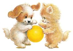 Ruth Morehead - Puppy & Kitten with Yellow Ball