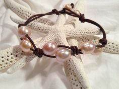 Freshwater Pearl and leather by JewelsbytheBay on Etsy