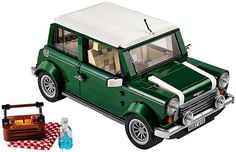 Toys for adults - Lego sent information about the upcoming (1 August) new construction brick set after the iconic car 'Mini Cooper' in classical green with white racing stripes, removable roof...