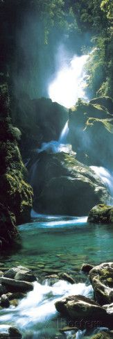 New Zealand - waterfall Affiche format porte