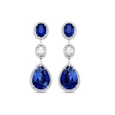 Asprey's Distinctive Sapphire Suite Earrings ~ Featuring two pear-shaped royal blue sapphires, two oval-cut royal blue sapphires and diamonds