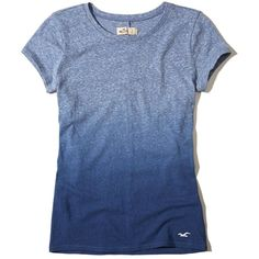Hollister Must-Have Crew T-Shirt ($9.99) ❤ liked on Polyvore featuring tops, t-shirts, crew-neck tee, slim fitted t shirts, blue top, slim t shirts and slim fit crew neck t shirts