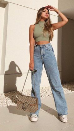 Bild Outfits, Mode Outfits, Vest Outfits, Cute Casual Outfits, Stylish Outfits, Summer Outfits, Cute Jean Outfits, Outfits With Jeans, Mom Jeans Outfit