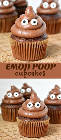 Poop Emoji Cupcakes. Bwa ha ha! I should throw a UC party and serve these!! :D