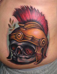 Fetal Skull Roman helmet soldier best colorful bright tattoo london reese_tattoo.jpg (622×800)