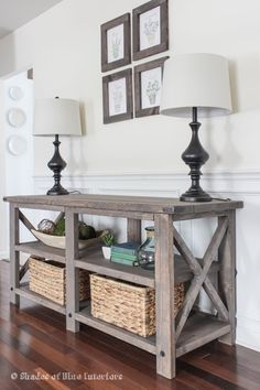 Ana white build a rustic x console free and easy diy project and x media console modified from ana white x console table plans stain and exact modifications listed for diy build home decor ideas watchthetrailerfo