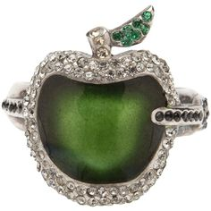 UNDERCOVER Apple ring (122.895 RUB) ❤ liked on Polyvore featuring jewelry, rings, accessories, green, anillos, women, leaf jewelry, clear glass ring, green jewelry and clear glass jewelry