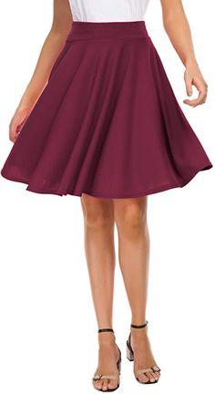 EXCHIC Women's Basic Skirt A-Line Midi Dress Casual Stretchy Skater Skirt (S, Navy) at Amazon Women's Clothing store Mini Skater Skirt, Black Skater Skirts, Mini Skirts, Flowy Skirt, Pleated Skirt, High Waisted Skirt, Casual Skirts, Dress Casual, Amazon