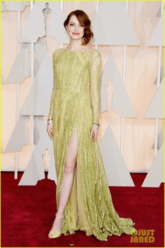 Emma Stone in Elie Saab Haute Couture dress, Christian Louboutin shoes, Tiffany & Co jewelry at the 2015 Oscars.
