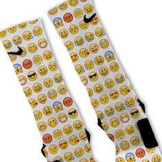 Smiley Emoji Custom Nike Elite Socks on SALE now at www.FreshElites.com