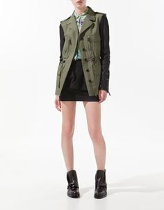 SAFARI JACKET WITH LEATHER SLEEVES - Blazers - Woman - ZARA United States