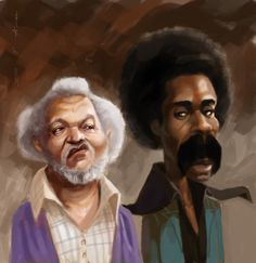 """""""You Big Dummy"""". Sanford and Son caricature. Cartoon Kunst, Cartoon Art, African American Art, African Art, Sanford And Son, Funny Caricatures, Celebrity Caricatures, Black Art Pictures, Black Love Art"""