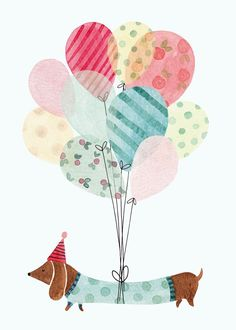 Greeting Cards - Birthday Cards - Felicity French Illustration #DogBirthday