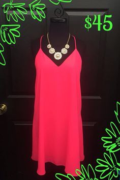 Who doesn't love a little slip dress?! Especially in hot coral! $45 S-M-L (Very nice length and fully lined!) Pearl Floral Necklace Set $24