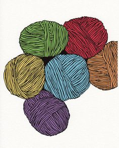 Colourful Yarn Balls | Peter Fong via Etsy