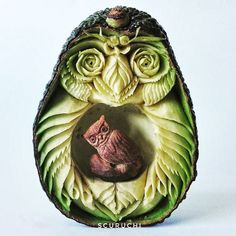 Owl carved out of avacado but there is something behind that seed... ...it's a baby owl! Vinc...
