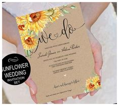 Download, EDIT YOURSELF, print and trim! ▬▬▬▬▬▬ LIMITED TIME OFFER ▬▬▬▬▬▬ FREE WORDING CUSTOMIZATION for editable templates*! *This offer is not available for menu templates, program templates or seating chart templates. Sunflower wedding invitation printable template set (Editable PDF), instant download and print your own DIY 3 Piece wedding template set! KRAFT (BROWN) BACKGROUND IS INCLUDED IN THE TEMPLATE DESIGN. Print on white paper. See wedding invitations with pictures Sunfl Sunflower Wedding Invitations, Printable Wedding Invitations, Invitation Set, Printable Invitations, Sunflower Weddings, Invitation Design, Wedding Stationery, Lace Invitations, Invites