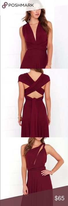Multi way burgundy dress Lulu's burgundy multi way maxi dress. Size XS, fits true to size. Floor length. Only worn once! The top of this dress can be wrapped in multiple ways including halter, strapless, one shoulder, cross front, short sleeved and much more! Look different every time you wear it! Lulu's Dresses