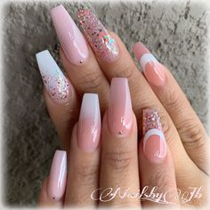 Light Peachy Pink Ombre and Glitter on long Coffin Nails Nail Artist: nailsby_jb her for more gorgeous na Mauve Nails, Pink Nails, My Nails, Matte Pink, Gold Stiletto Nails, Bride Nails, Wedding Nails, Coffin Nails Long, Pink Coffin