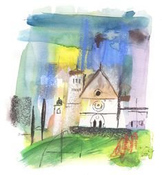Assisi sketch by Scott Jessop. Pastel over watercolour and ink on paper.