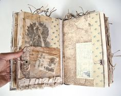 YouTube video flip through: youtu.be/gnZC9t7Y4JY (copy and paste into address bar) please take a look, theres a lot to see! This hardcover, textile faced journal has been inspired by Amelia Earhart and vintage aviation. The textile used to face this cover looks like a weathered leather. On the cover is a metal bookplate backed by an aged open weave cloth. Some of the pages have been sewn together to form pockets and tuck spots. Ive left the thread tails attached. Among its many page...