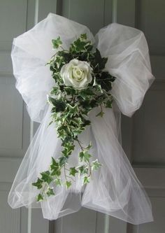 Items similar to Wedding Decorations Rose Ivy Tulle Bows Pews Doors Chairs on Etsy Elegant Decorations with Tulle Tulle Wedding Decorations, Pew Decorations, Wedding Wreaths, Wedding Centerpieces, Wedding Table, Wedding Bouquets, Wedding Church, Wedding Backdrops, Garland Wedding