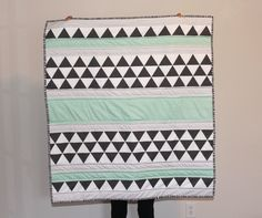 Triangles and Stripes Quilt in Sea Foam — The Lullaby Room