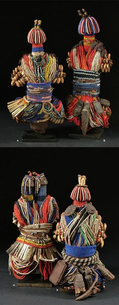 Africa | Fali dolls from northern Cameroon | TOP a) wood, glass beads, coins…