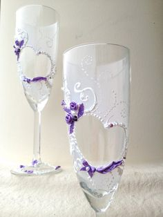 Hand painted wedding champagne glasses, heart-shape decoration with white and purple pearls and roses