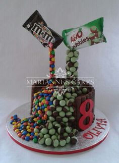 Zero gravity cake with M&M and mint Aero balls www.mariannescakes.co.uk