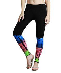 Look what I found on #zulily! Black & Pink Tie-Dye Leggings - Women by NIKIBIKI #zulilyfinds