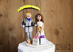 Wedding Cake Topper custom by LilyLilesWeddingco on Etsy Custom Wedding Cake Toppers, Wedding Cakes, Polymer Clay Figures, Paragliding, Wedding Stationery, Bride Groom, Cake Decorating, Disney Princess, Google Search