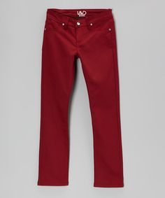 Take a look at this Wine Red Twill Skinny Pants by Lavo Collections on #zulily today!
