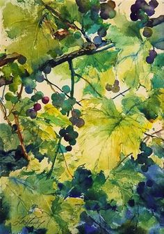 "Daily Paintworks - ""Wild Grapevines"" - Original Fine Art for Sale - © Linda Henry"