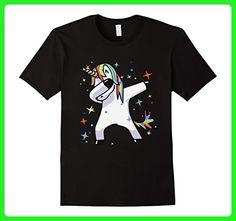 Mens Dabbing Unicorn Dance, Rainbows, Magic, Stars, Fluffy TShirt XL Black - Fantasy sci fi shirts (*Amazon Partner-Link)