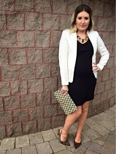A Night of Excellence | Liv.vie In Love Ivory Blazer, Black Dress, Leopard Print Slingback Pumps, Woven Clutch, and Layered Statement Necklaces. Maternity style, maternity fashion, pregnancy style, pregnancy fashion, baby bump style, baby bump, 27 weeks, ootd, wiwt, blogger, fashion stylist