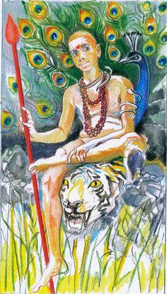 Sacred India Tarot - Ramana as Skanda (Knight of Staves/Wands)