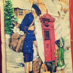 #vintage tea towel from 'And In With The Old'  #christmas #postman