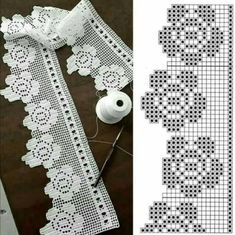 If you looking for a great border for either your crochet or knitting project, check this interesting pattern out. When you see the tutorial you will see that you will use both the knitting needle and crochet hook to work on the the wavy border. Alphabet Au Crochet, Marque-pages Au Crochet, Filet Crochet Charts, Fillet Crochet, Crochet Lace Edging, Crochet Amigurumi, Crochet Motifs, Crochet Borders, Crochet Trim