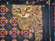 Awesome detail on this lovely quilt!  I'd LOVE to try something like this!  cat quilt by Mary Anne Thygesen, via Flickr