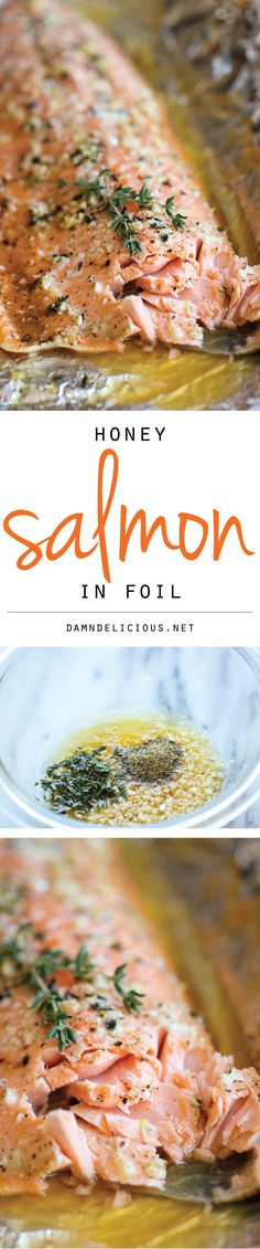 Honey Salmon in Foil - A no-fuss, super easy salmon dish that's baked in foil for the most tender, most flavorful salmon ever! A no-fuss, super easy salmon dish that's baked in foil for the most tender, most flavorful salmon ever! Salmon Recipes, Fish Recipes, Seafood Recipes, Recipies, Salmon Dishes, Seafood Dishes, Fish Dishes, Main Dishes, Clean Recipes