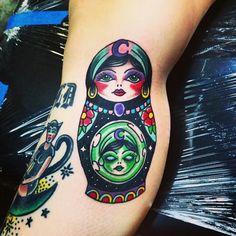 Rusian nesting doll tattoo, babushka tattoo