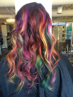 Rainbow balayage, Rainbow braid, rainbow hair, magenta, yellow, green, purple, orange, sand art. As always Pravana!