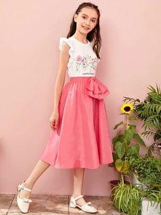 Girls Elastic Waist Bow Front Flare Skirt – Kidenhouse Flare Skirt, Midi Skirt, Cute Young Girl, Tween Fashion, Elastic Waist, High Waisted Skirt, Bows, Bright, Girl Skirts