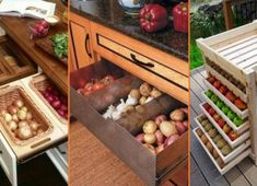 Do you want a highly nutritious diet? All you have to do is eat fresh fruits and vegetables. Fresh f . Storage Bins, Food Storage, Storage Ideas, Creative Storage, Storage Spaces, Fruit And Vegetable Storage, Vegetable Ideas, Home Design Magazines, Fresh Fruits And Vegetables