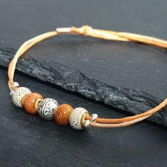 größenverstellbar Leder Armband mit Keramik Perlen und schönen bronze Kugeln
